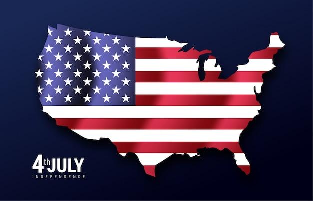 Mapa de los estados unidos de américa con una bandera ondeante, estados unidos de américa, estrellas y rayas. día de la independencia 4 de julio