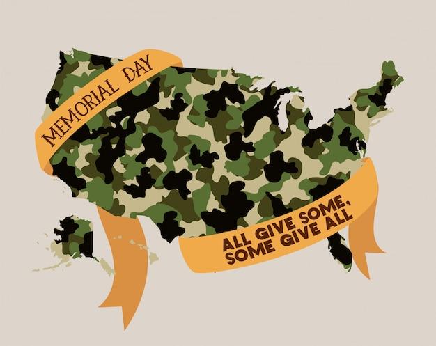 Mapa de estados unidos con camuflaje y cinta del emblema del memorial day