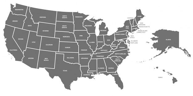 Mapa de estados unidos. cartel de estados unidos de américa con nombres de estado. mapas geográficos americanos que incluyen ilustración de alaska y hawai