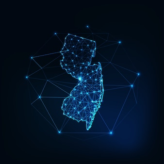 Mapa de estados unidos del estado de nueva jersey, contorno de silueta brillante de estrellas, líneas, puntos, triángulos