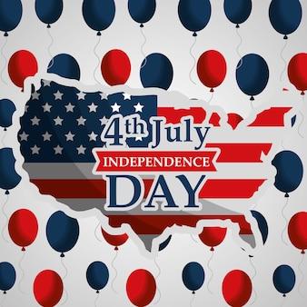 Mapa de estados unidos y globos voladores día de la independencia americana