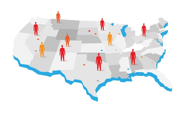Mapa de estados unidos con la ilustración de los iconos de personas