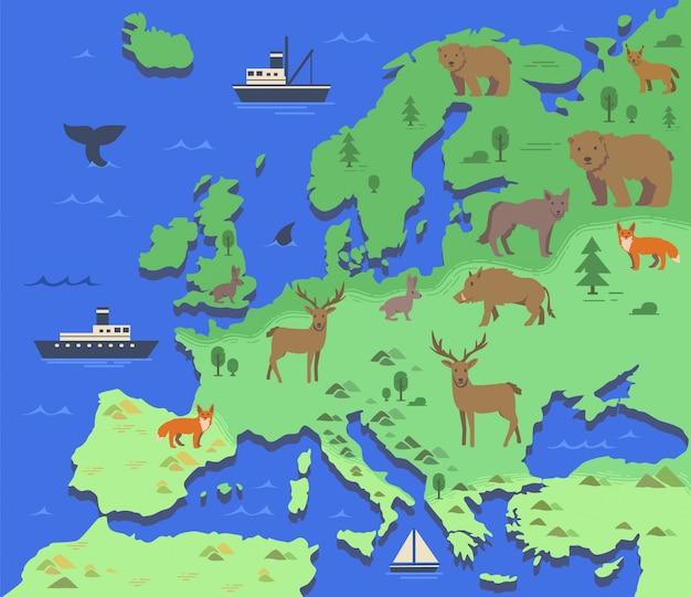 Mapa estilizado de europa con animales autóctonos y símbolos de la naturaleza. mapa geográfico simple. ilustración