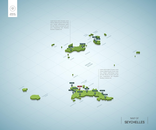 Mapa estilizado de seychelles. mapa verde 3d isométrico con ciudades, fronteras, capital, regiones.