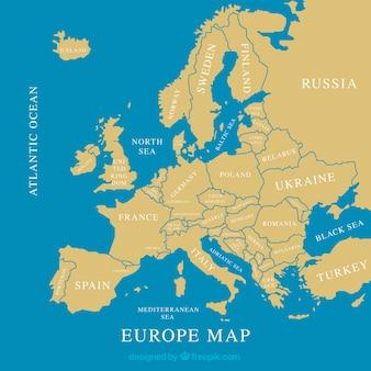 Mapa de europa con colores en estilo plano