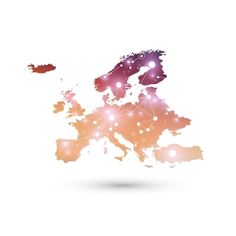 Mapa de europa. complejo de big data con compuestos. visualización de datos digitales. cibernético.