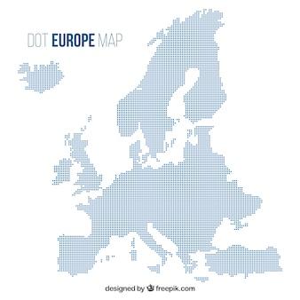 Mapa de europa con puntos en estilo plano