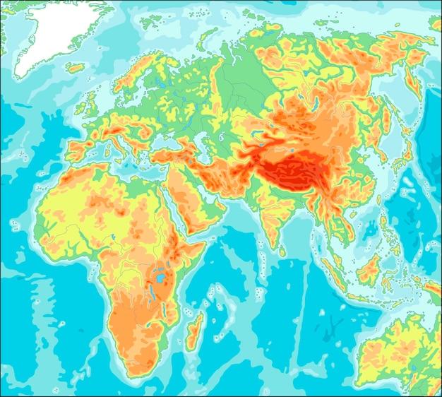 Mapa físico mundial centrado en asia