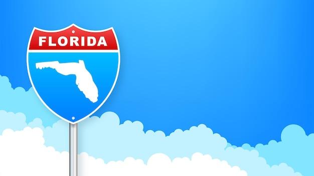 Mapa de florida en señal de tráfico. bienvenido al estado de florida. ilustración vectorial.