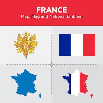 Mapa de francia, bandera y emblema nacional