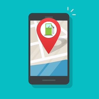 Mapa con gasolinera de gasolina en línea en el marcador de ubicación de la ciudad de la aplicación del teléfono inteligente del teléfono móvil