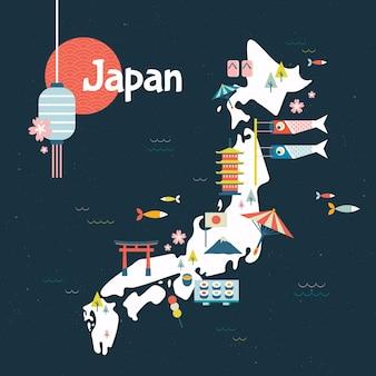 Mapa geométrico vintage de japón con elementos
