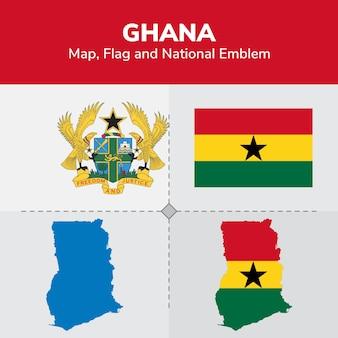Mapa de ghana, bandera y emblema nacional