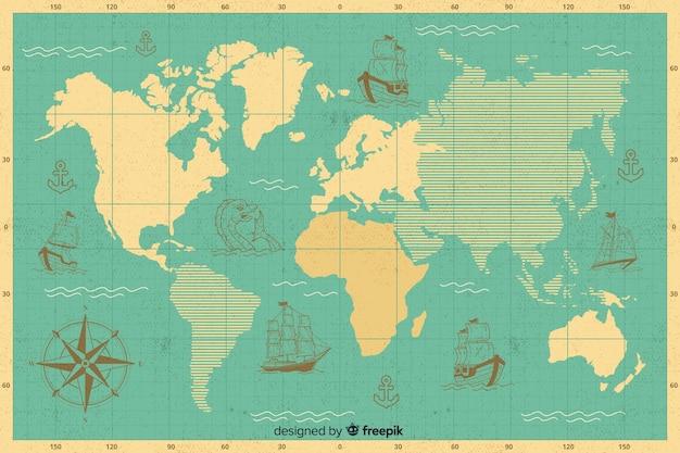 Mapa global con diseño de continentes