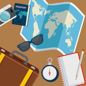Mapa global con gafas de sol y pasaporte ravel