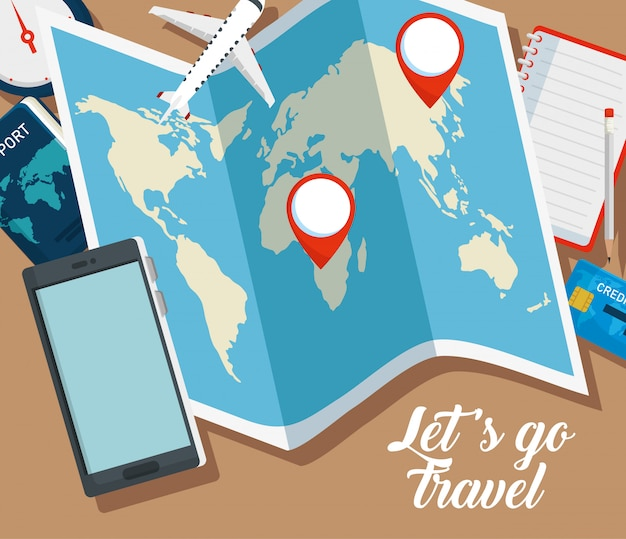 Mapa global con letreros de ubicación y teléfono inteligente