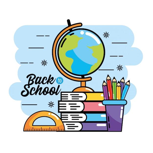 Mapa global con libros y lápices de colores para respaldar la escuela.