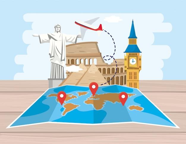 Mapa global de ubicación con avión y destino de aventura