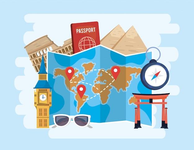 Mapa global de ubicaciones con pasaporte y cronómetro a destino