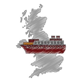 Mapa gran bretaña con icono de barco de barco