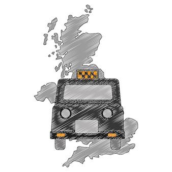 Mapa gran bretaña con taxi clásico