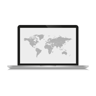 El mapa gris del mundo se muestra en una computadora con pantalla y sobre un fondo blanco.