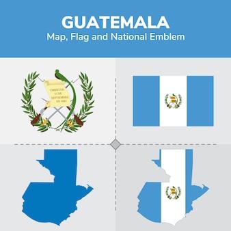 Mapa de guatemala, bandera y emblema nacional