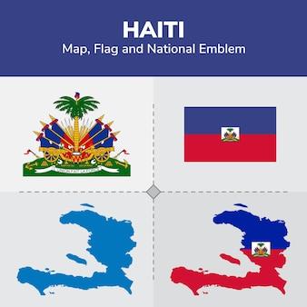 Mapa de haití, bandera y emblema nacional
