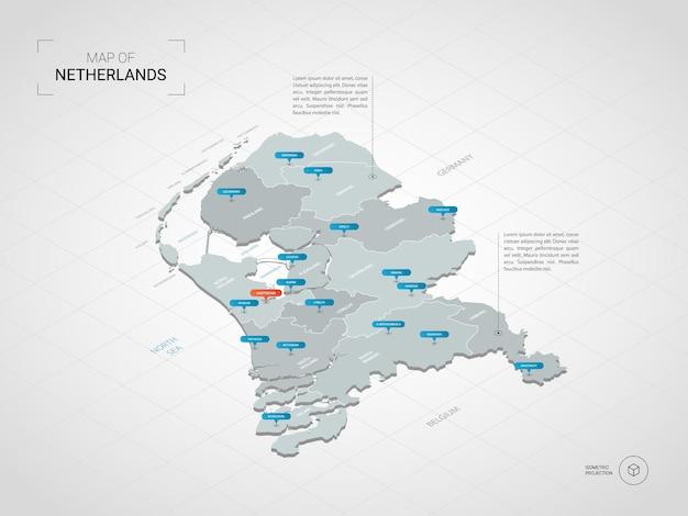 Mapa de holanda isométrica. ilustración de mapa estilizado con ciudades, fronteras, capitales, divisiones administrativas y marcas de puntero; fondo degradado con rejilla.