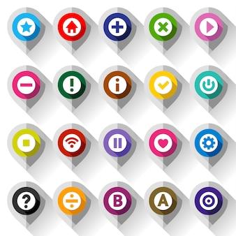 Mapa de iconos de colores, en papel gris doblado