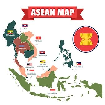 Mapa ilustrado de la asean con banderas.