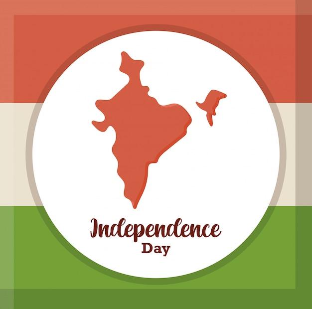 Mapa de la india en la bandera nacional, día de la independencia de la india