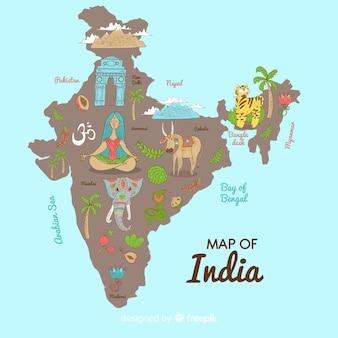 Mapa de india dibujado a mano