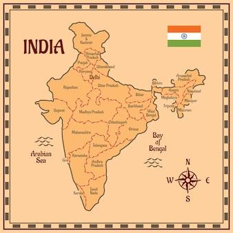 Mapa de la india de estilo plano