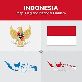 Mapa de indonesia, bandera y emblema nacional