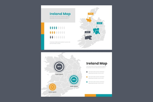 Mapa infográfico lineal de irlanda