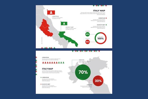 Mapa infográfico lineal de italia