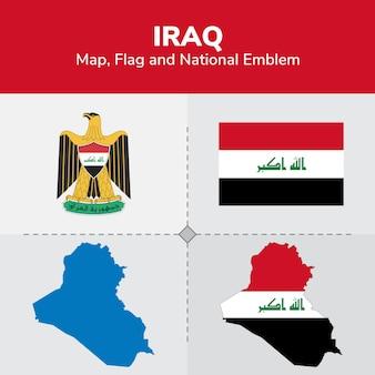 Mapa de iraq, bandera y emblema nacional