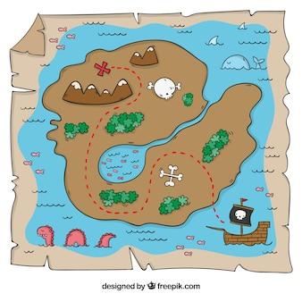 Mapa de isla de tesoro dibujado a mano