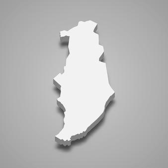 Mapa isométrico 3d de los altos del golán es una región de israel