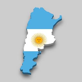 Mapa isométrico 3d de argentina con bandera nacional.