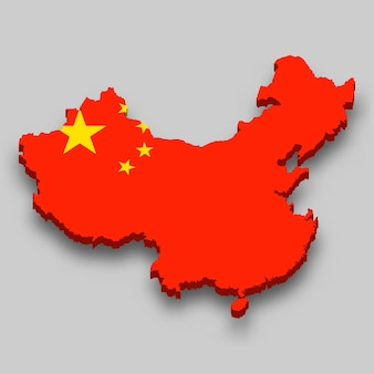Mapa isométrico 3d de china con bandera nacional.