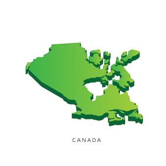 Mapa isométrico 3d moderno de canadá