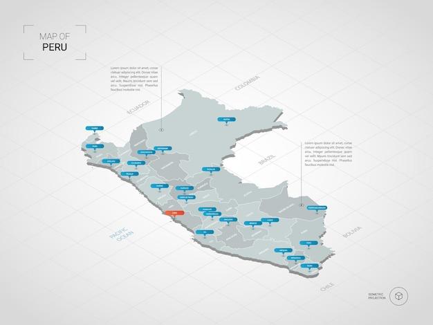 Mapa isométrico 3d de perú.