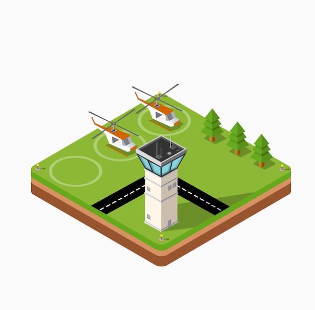 Mapa isométrico del aeropuerto de la ciudad, árboles y helicópteros de construcción y vuelo.