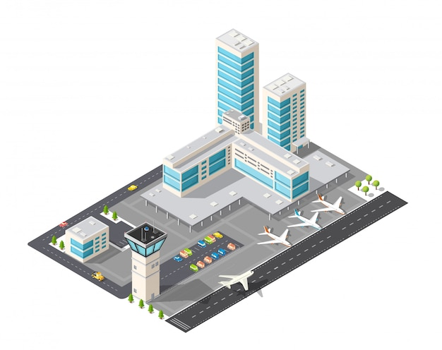 Mapa isométrico del aeropuerto de la ciudad, los árboles y el vuelo de la construcción.
