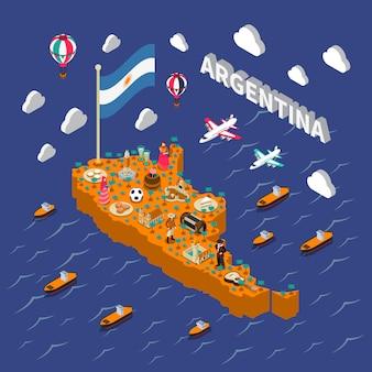 Mapa isométrico de atracciones turísticas de argentina.