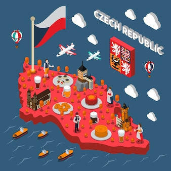 Mapa isométrico de atracciones turísticas de la república de chech