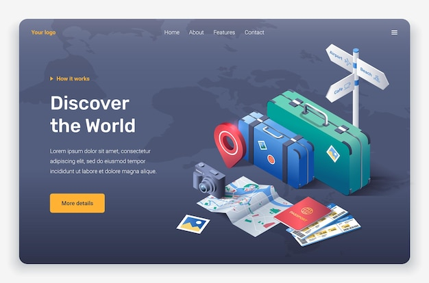 Mapa isométrico, boletos, pin de ubicación, cámara de fotos, suicases, pasaporte y señalización vial. plantilla de página de destino.