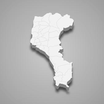 Mapa isométrico del condado de pingtung es una región de taiwán